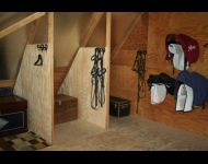 tack room- 3 cubbies in view